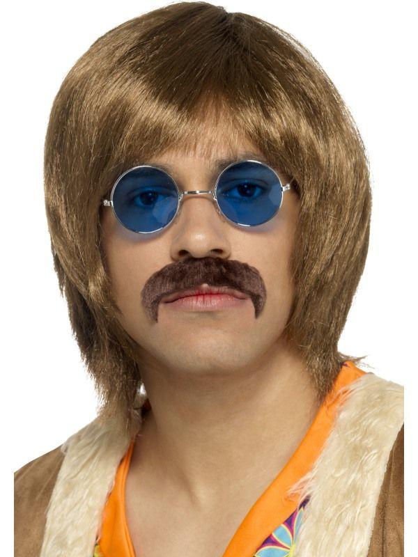 Paruka, knírek a brýle Hippie hnědé