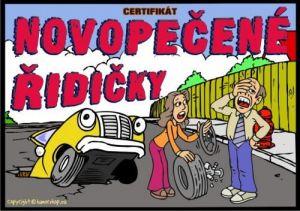 Certifikát novopečené řidičky