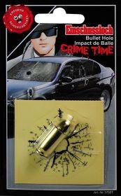 Samolepka průstřel skla + nábojnice a kulka
