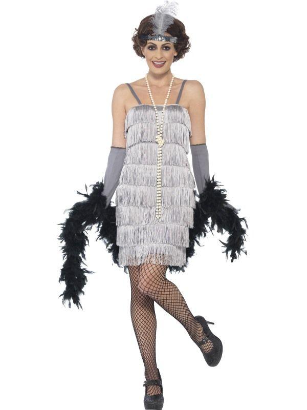Kostým Flapper krátké šaty stříbrné
